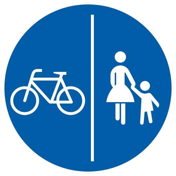 Getrennter Rad- und Gehweg Aufkleber 30cm
