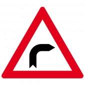 Achtung rechts Kurve Aufkleber 30cm