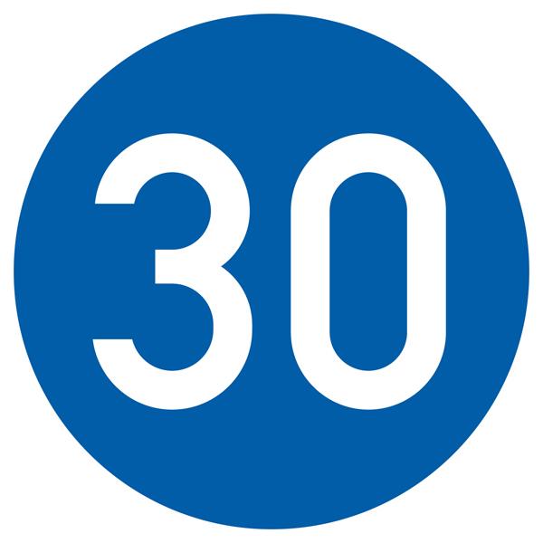 Vorgeschriebene Mindestgeschwindigkeit Aufkleber 30cm