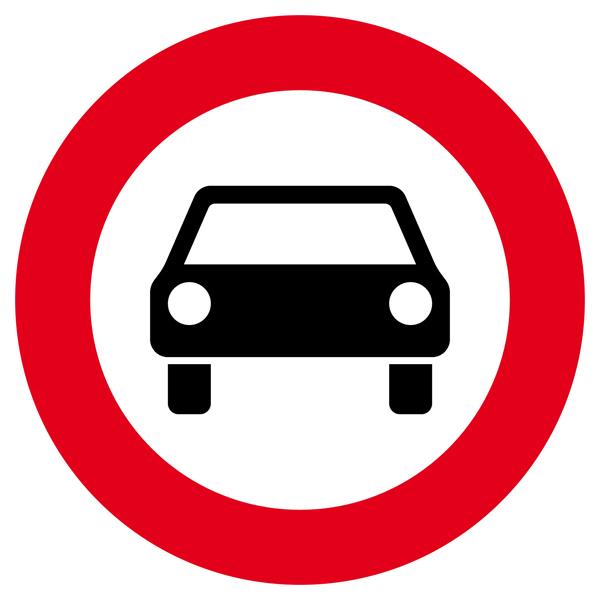 Verbot für Kraftwagen Aufkleber 30cm