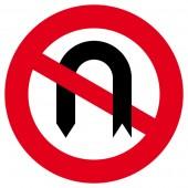 Verbot des Wendens Aufkleber 30cm