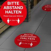 Bodenfolie – BITTE ABSTAND HALTEN (DE / EN)